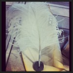 Legally blond eat your heart out. Feather plume pen by Maison Martin Margiela.