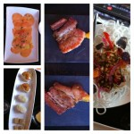 Salmon carpaccio, sushi, thick bacon with pumpkin sauce and root vegetable on top of rice noodles. Yummy appetizers.