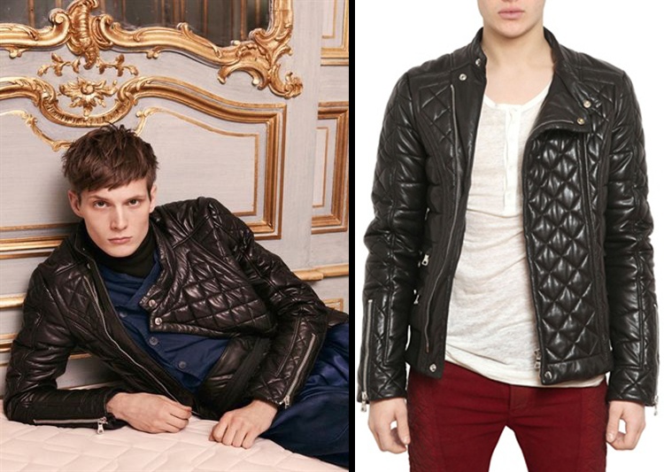 Quilted leather jacket for men