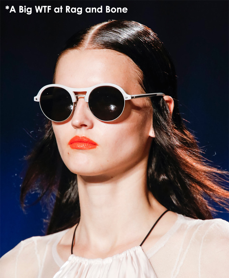 Weird glasses at MBFW Spring 2014 Rag and Bone