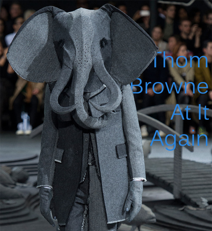 Sexy sartorial elephant man steals show at Thom Browne Fall 2014