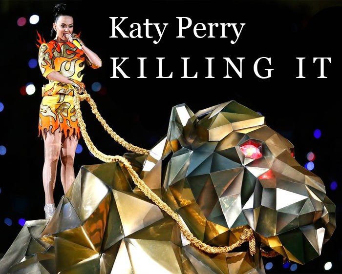 Katy Perry at the Super Bowl in Flames